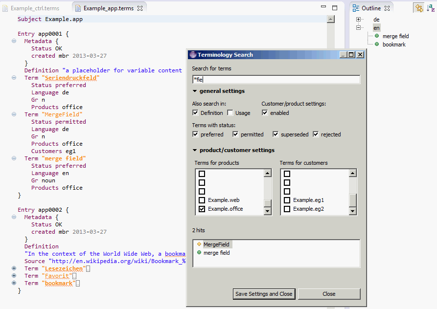 Terminology Editor Screenshot